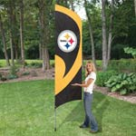 8-1/2 ft x 2-1/2 ft Steeler Tall Flag w/ Pole