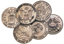 "2-1/2"" Brass Military Medallions - FREE with Pedestal"
