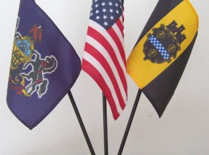 U.S. + Pennsylvania + Pittsburgh Mini-Flag Set