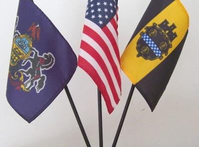 U.S. + Pennsylvania + Pittsburgh Mini-Flag Set