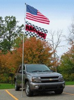 20' Portable Flagpole Set --- Telescoping Flagpole & Tire Mount