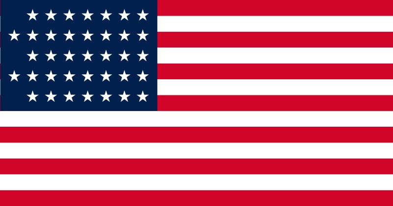 37-Star U.S. flag (1867-1877) [NE] --- click on button to see sizes & prices