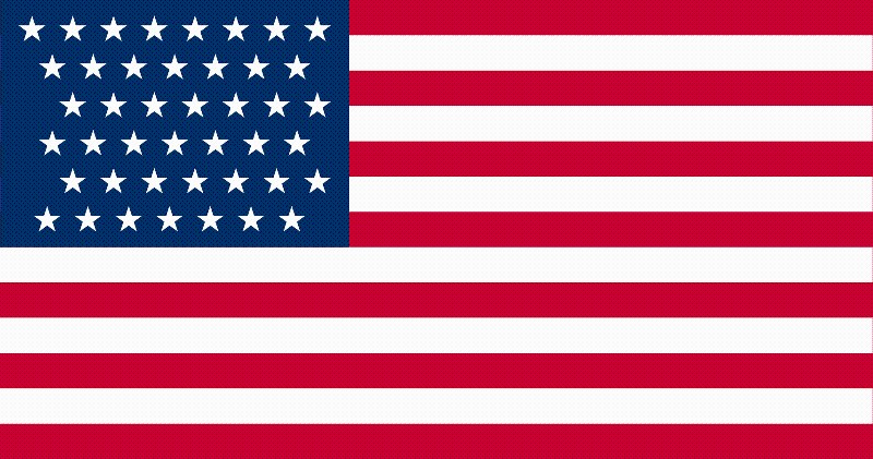 43-Star U.S. flag (1890-1891) [ ID, MT, ND, SD, WA ] --- click on button to see sizes & prices