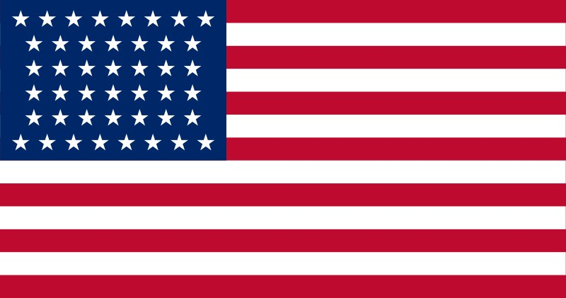 44-Star U.S. flag (1891-1896) [ WY ] --- click on button to see sizes & prices