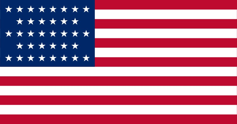 36-Star U.S. flag (1865-1867) [ NV ] --- click on button to see sizes & prices