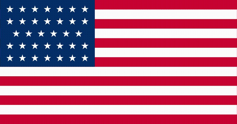 34-Star U.S. flag (1861-1863) [ KS ] --- click on button to see sizes & prices