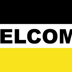 3' x 5' Black and Gold Welcome Flag