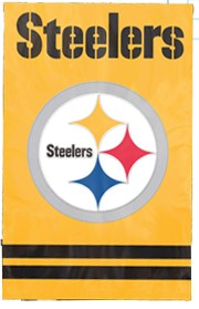 "Deluxe Two-Sided Steelers Banner - Gold, 28"" x 44"""