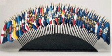 Black Wood Stand for 51 Desktop Flags (flags not included)