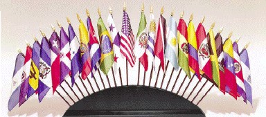 Black Wood Stand for 36 Desktop Flags (flags not included)