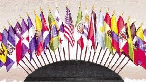 Set of O.A.S. Desktop Flags with Stand
