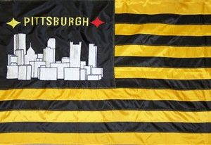 3' x 5' Black and Gold Striped Pittsburgh Flag - EMBROIDERED