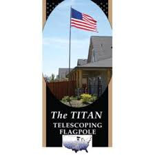 "20 ft Silver ""Titan"" Telescoping Flagpole with 4 ft x 6 ft U.S. Flag"