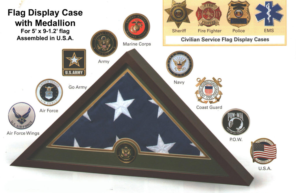 Medallion Flag Display case for 5ft x 9ft-6in flag